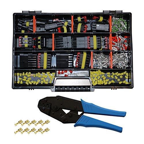 AMP Superseal Starter Set 1-polig bis 6-polig Sortiment Box Kasten mit Crimpzange Steckverbinder Elektrik KFZ