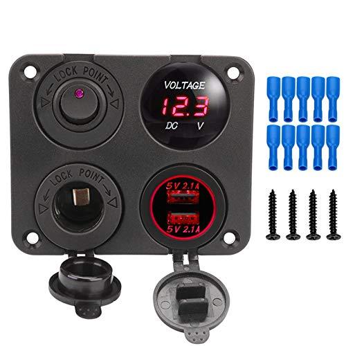 JOMOSIN Qiche42 12V Potencia 4 en 1 Panel de Interruptor Impermeable voltímetro Digital Coche duple USB Cargador zócalo Encendedor de Cigarrillos con Interruptor de balancín Automotor (Color : Red)
