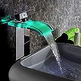 KunMai Modern LED Waterfall Glass Monobloc <span class='highlight'>Bathroom</span> <span class='highlight'>Tall</span> Basin Mixer Tap (<span class='highlight'>Chrome</span>)