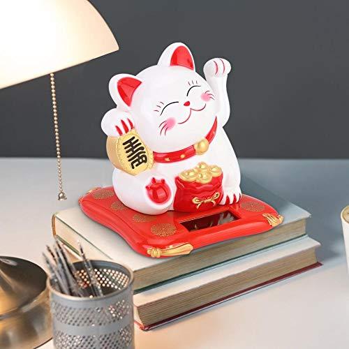 Oumefar 3,5 x 3,9 x 4,1 Pulgadas Decoración de plástico para Gatos Agitando Gato Wealth Cat para el Tablero de Instrumentos del Coche de la Ventana de la Mesa(White)