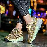 qmj LED Chaussures À roulettes Unisexe Enfants Poulie Chaussures Roues Chaussures Clignotant Lumineux Patins en Plein Air Course Gymnastique Baskets,Gold-34