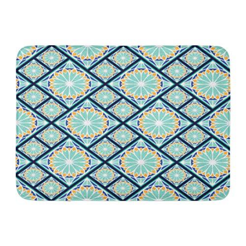 NCH UWDF Felpudos Alfombras de baño Alfombrilla de Puerta Patrón de Colores en español Azulejos de España Azulejos de cerámica de Portugal Azulejo Detalle de índigo 15.8'x23.6'