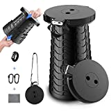 Portable Retractable Stool with 4400mAh Phone Charger, OMEW Collapsible Telescoping Folding Stools Chair Seat Lightweight Sturdy for Adults Indoor Outdoor Garden Travel Fishing Camping BBQ Load 410lbs