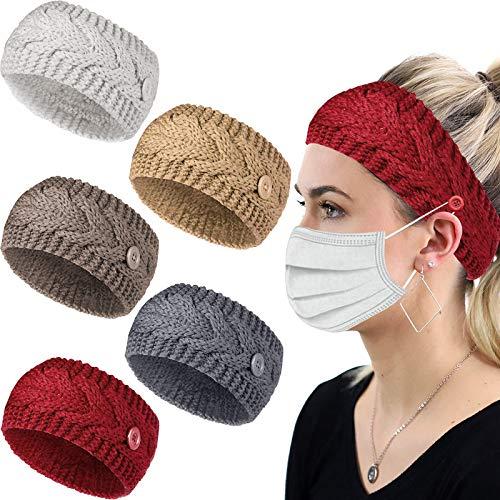 5 Stück Winter gestricktes Stirnband, warm gestrickte Kopfbedeckungen geknoteter Knopf Stirnband Häkeln Turban Stirnbänder Elastische geflochtene Kopfwickel Winterohrwärmer