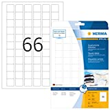 HERMA 8831 Universal Etiketten für Inkjet Drucker DIN A4 (25,4 x 25,4 mm, 25 Blatt, Papier, matt, quadrat) selbstklebend, bedruckbar, permanent haftende Aufkleber, 1.650 Klebeetiketten, weiß