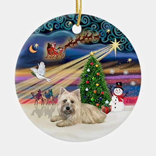 3 Inch Christmas Ornament, Xmas Magic - Wheaten Cairn Terrier #4 (Lying) Ceramic Ornament, Xmas Ornament Keepsake Gift
