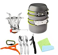 Image of Bisgear 12pcs Camping Cookware Stove Canister Stand Tripod Folding Spork Wine Opener Carabiner Set Outdoor Camping Hiking Backpacking Non-Stick Cooking Non-Stick Picnic Knife Spoon Dishcloth: Bestviewsreviews