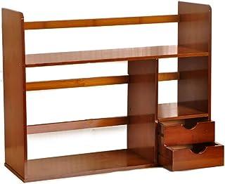 رف للكتب بسيط للطاولة رف المكتبي صغير للكتب المكتبية، وحدة تخزين رف الكتب قابلة للسحب (المقاس: D-58 × 19.5 × 46 سم)، المقا...
