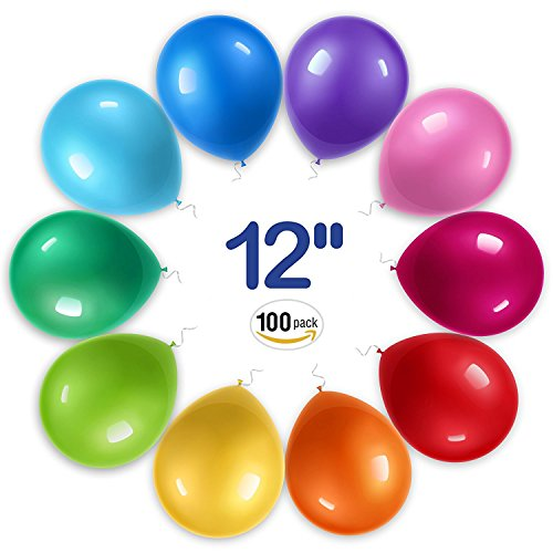 RAINBEAN Globos de Látex de 12 Pulgadas (100 Unidades por Paquete). Globos para Helio o Agua. Globos Biodegradables