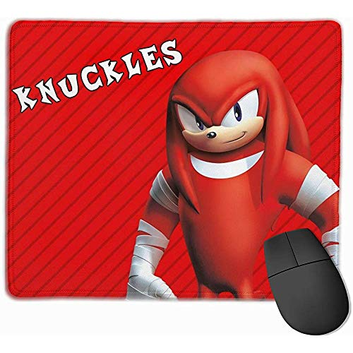 Gaming-muismat, rechthoekige muismat, gestikte randen muismat, Sonic Boom-Knuckles antislip-muismat, rubberen kantoorpad, 30 x 25 cm