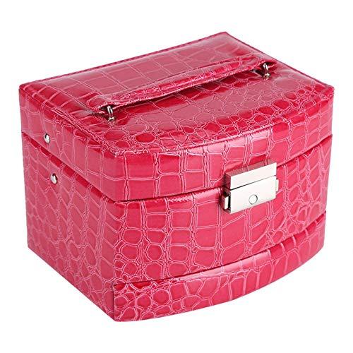 Freyla Caja de joyería de 3 Capas-Caja de Almacenamiento de Anillo de Collar de joyería de 3 Capas Caja de Regalo para Dama Suministros para el hogar(Rosa roja)