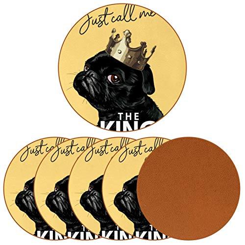 6 posavasos de cuero de alta calidad para bebidas, resistentes al calor, protege los muebles de manchas, anillos de agua y daños, color negro, corona King