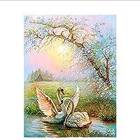 DIY 数による絵画 カップル白鳥動物デジタル油絵現代の壁アート手描きの油絵キャンバス上の結婚式の装飾-50*65cm