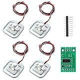 Futongda 8pcs Celda de Carga y 2Pcs Módulo AD HX711 con 2Pcs 10 Pines, 50kg Sensor de Peso con HX711 Módulo, 50Kg Sensor de Ponderación (3 tipos, 12pcs)