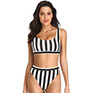 Dixperfect Two Pieces Bikini Sets Swimsuit Sports Style Low Scoop Crop Top High Waisted High Cut...