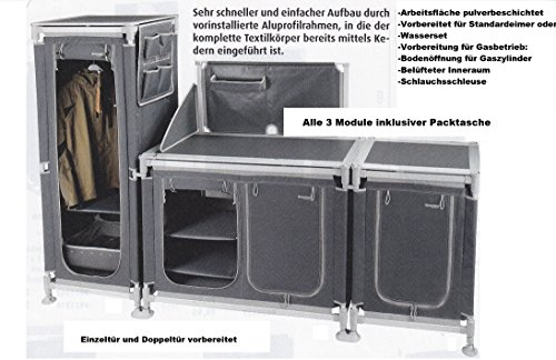 STABIELO - 3 TEILIGES VORZELT CAMPING MODUCAMP KÜCHENSCHRANK DOPPELTÜR - 3 REGALBÖDEN - WINDSCHUTZ - Gewicht 11,2 kg + HOCHSCHRANK - GEWICHT 9,0 kg + EINZELTÜRSCHRANK GEWICHT 5,8 kg - Gesamtgewicht 26 KILO - VERTRIEB durch Holly ® Produkte STABIELO ® - holly-sunshade ® - patentierte Innovationen im Bereich mobiler universeller Sonnenschutz - Made in Germany-