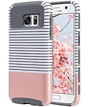 ULAK S7 Case Galaxy S7 Case Hybrid Case for Samsung Galaxy S7 2016 Release 2-Piece Dual Layer Style Hard Cover  Minimal Rose Gold Stripes+Grey  Will not Fit S7 Edge