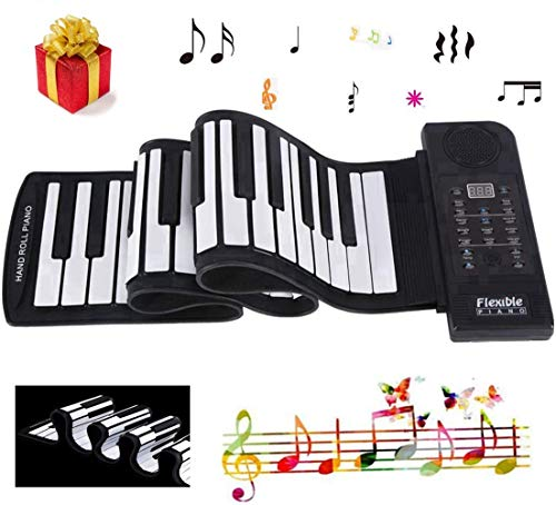 Mavis Laven Klaviertastatur Portable 61-Keys Roll-up Weiches Silikon Flexibles Elektronisches Klavier Digital Music Keyboard Piano für Home Entertainment Music Practice