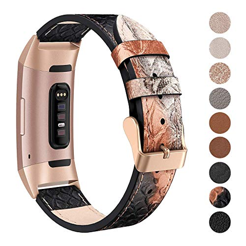 SWEES Leather Bands Compatible Fitbit Charge 3 & Charge 3 SE, Genuine Leather Band Strap Wristband Replacement for Fitbit Charge 3 Women Men Small, Snake Pattern Gold/Black