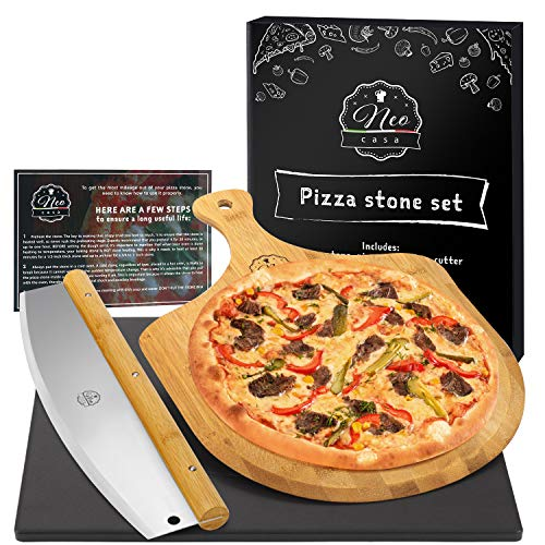 NeoCasa Black Cordierite Ceramic Coated Pizza Stone Pan Set with Bamboo Pizza Peel & Pizza Cutter - Baking Stones for Oven, Grill & BBQ - Stainless & Nonstick Pizza Stone For Oven - Rectangular