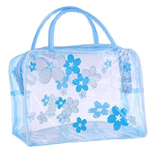 Bingpong 2 stks Bloem Gedrukt Draagbare Waterdichte PVC Transparant Cosmetische Tas Reizen Organizer Toiletruimte Opmaken Gereedschap Tas