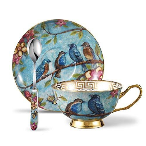 Panbado Tazas de Café de China de Hueso, 200ml, Juego de Café de Porcelana Blanca y Translúcida Tazas de Té para Hogar, Oficina, Restaurante, Regalo para Cumpleaños, Festival - Flores y Pájaros, Azúl