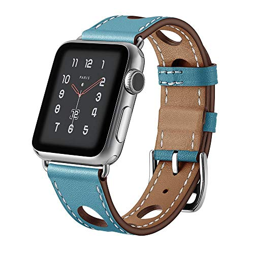 123Watches.nl - Apple watch leren hermes band - lichtblauw - 38mm en 40mm