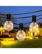 Fochea Lichtsnoer voor buiten, G40, 9,5 m, 25 lampen, lichtsnoer voor tuin, Kerstmis, bruiloft, feest, buitendecoratie, warm wit