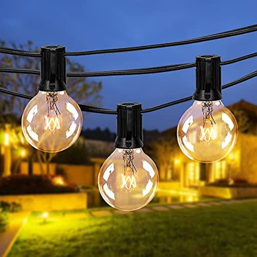 Guirlande Lumineuse Intérieure et Extérieure FOCHEA 9.5M Guirlande Guinguette Raccordable Ultra-longue avec 25 Ampoules+4 Ampoules de Rechange pour Jardin/Terrasse/Salon