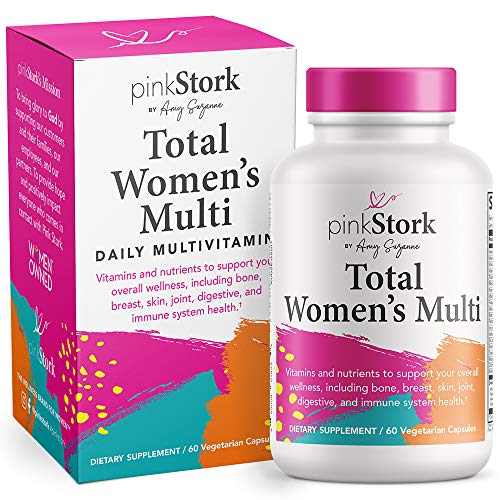 Pink Stork Total Women's Multi: Women's Multivitamin with Folate, Zinc, Vitamin A, Vitamin C, Vitamin D, Vitamin E, + Biotin, Essential Nutrients for Women, Women-Owned, 60 Capsules