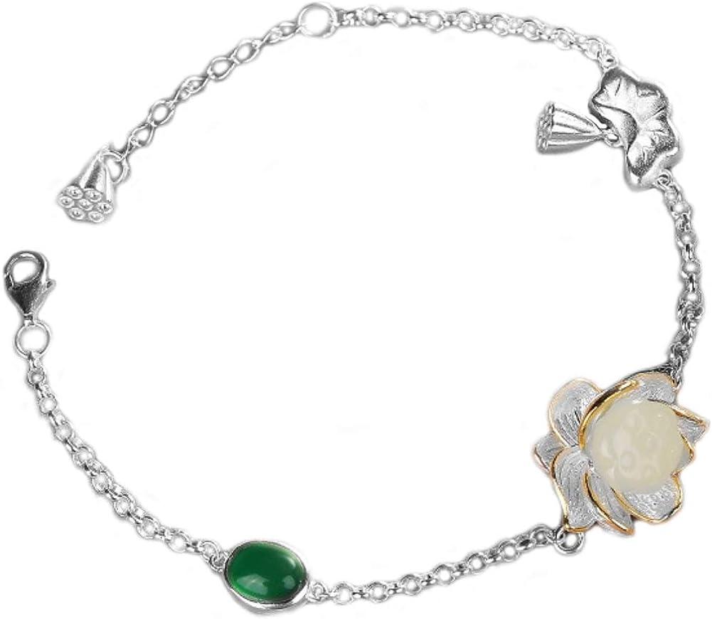 JIMCHUU Hetian Stone Lotus Bracelet Seedpot Silver A surprise price is realized 925Sterling Same day shipping