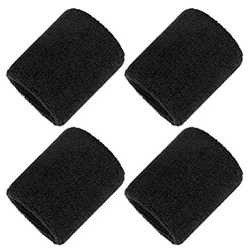 kuou 2 Pairs/4 Pack Black Wrist Sweatband, Athletic Cotton Terry Cloth...