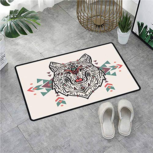 Summix Door Mat Charming Lion Like Wolf Head with Paisley Design Ornaments Print,Door Mats for Indoor Entrance with Non-Slip Base & Lock Edge 23.6X47.2 Inch,Pearl Coral and Teal