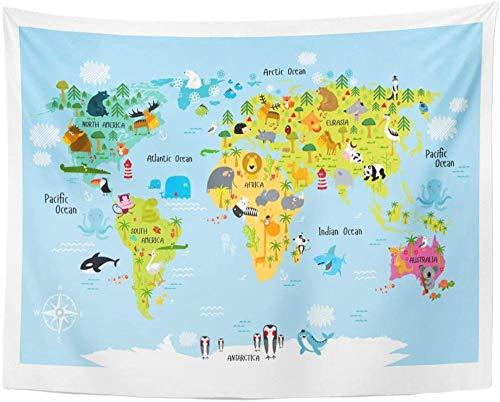 Mapa del mundo con animales de dibujos animados León Cocodrilo Tapiz Decoración para el hogar Pared 150x100cm/59x39inchch