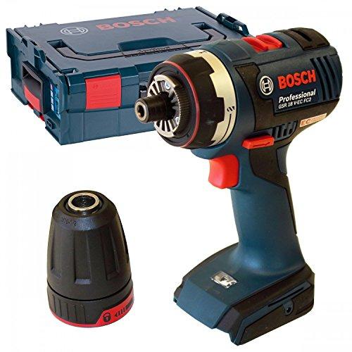 Bosch GSR 18 V-EC FC2 Professional - Atornillador de impacto a batería (con portabrocas y L-BOXX, sin batería)