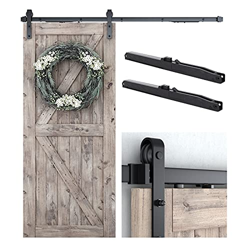 SMARTSTANDARD 6.6 FT Sliding Barn Door Soft Close Hardware Kit - Smoothly and Quietly-Single Door-Invisible Design-Includes Step-by-Step Installation Instruction -Fit 36''-40' Door Panel (J Shape)