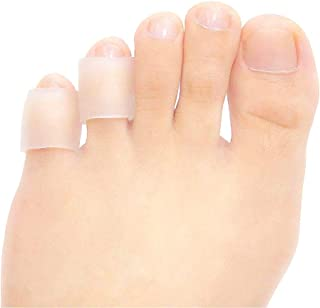 JKcare Transparent Pinky Toe Sleeves, Silicone Corn Cushions Pads, 12 Pack Little Toe Protectors for Corn, Blister and Inj...