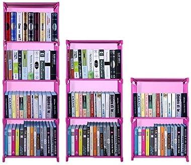 Hosmat 9-Cube DIY Children's Bookcase 30 inch Adjustable Bookshelf Organizer Shelves Unit, Folding Storage Shelves Unit (Pink