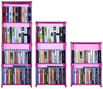 Hosmat 9-Cube DIY Children's Bookcase 30 inch Adjustable Bookshelf Organizer Shelves Unit, Folding Storage Shelves Unit (Pink_9 Cubes)