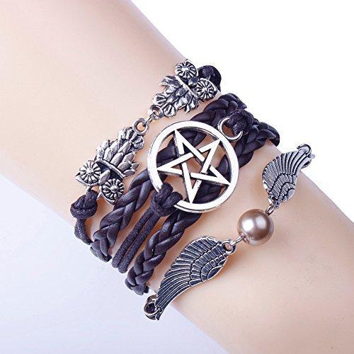 f-eshiat Frauen Mädchen Retro-Stil Pentagramm Flügel Armreif geflochten Seil Charme Manschette Schmuck Armband Geschenk