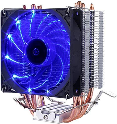upHere Disipador de procesador con ventilador de 92 mm PWM CPU Cooler Blu,C92B