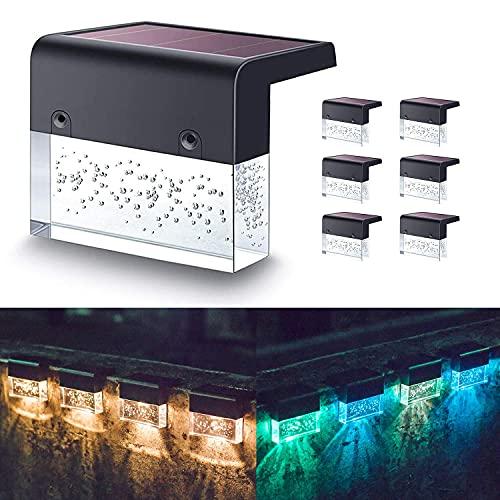 Tiop Juego de 6 luces solares LED para plataforma, 2 modos de iluminación, luz blanca cálida/cambio de color