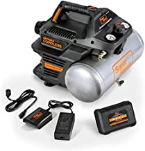 SuperHandy Air Compressor Cordless 2 Gal 135 PSI 10Amp 3/4eHP Portable Tire Inflator Ultra Quiet Oil Free 48V DC Lithium Ion Battery Mechanical Pressure Gauge Heavy Duty for Nail Gun Pneumatic Tools