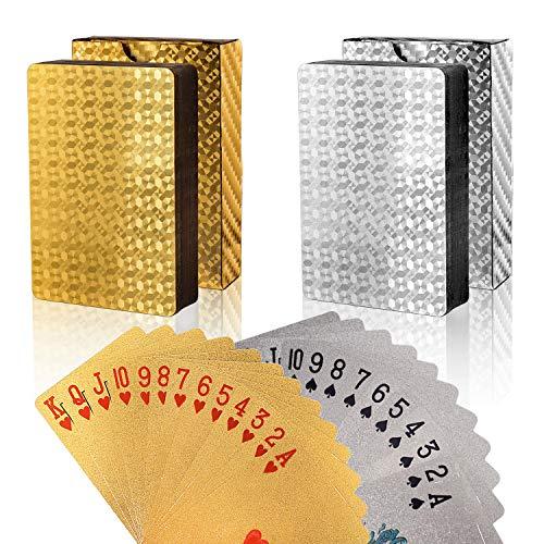 FT-SHOP Poker Cartas 2 Juegos Impermeable Juego de Mesa de Naipes de Plástico Resistente a Las lágrimas Oro, Plata