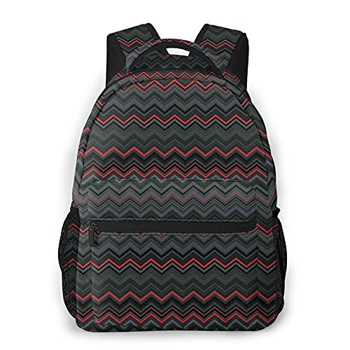 Mochila horizontal de color rojo y negro con diseño de ondas en zigzag Chevron W para escuela secundaria universitaria estudiante Bookbag adolescentes ordenador portátil bolsa casual