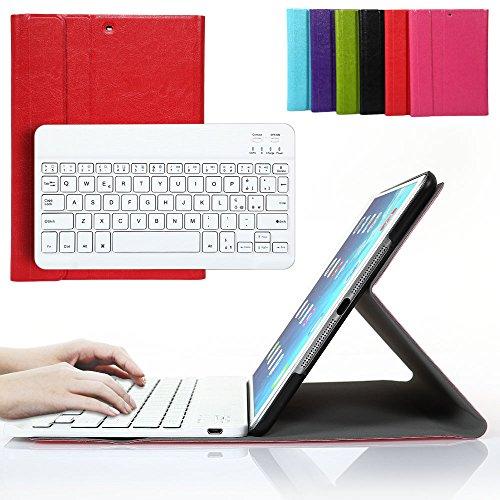 Besmall Tastiera Bluetooth Wireless Rimovibile con Cavo Ricarica USB per Apple iPad Air 1 iPad 2018/2017 9.7 pollici + Custodia Cover Protettiva in Pelle Sintetica - Rosso