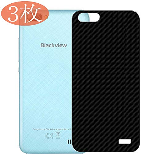 【3 Pack】 Synvy Back Screen Protector for Blackview A7 Pro Ultra Thin TPU Flexible Protective Screen Film Protectors 3D Carbon Fiber Skin Sticker [Not Tempered Glass] - Black