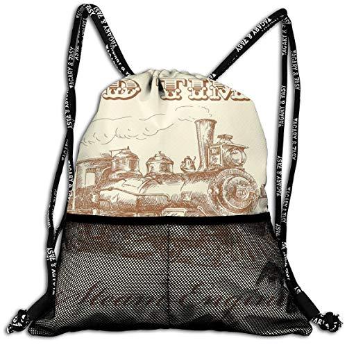 AZXGGV Drawstring Backpack Rucksack Shoulder Bags Gym Bag Sport Bag,Old Times Train Vintage Hand Drawn Iron Industrial Era Locomotive