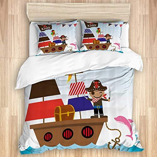 Ttrsudddsyy La Funda nórdica Establece Las sábanas,Ahoy It's a Boy Pirate Kids Treasure Che, Juego de Cama de 3 Piezas con 2 Fundas de Almohada, tamaño único 140x200cm (55x78 Pulgada)