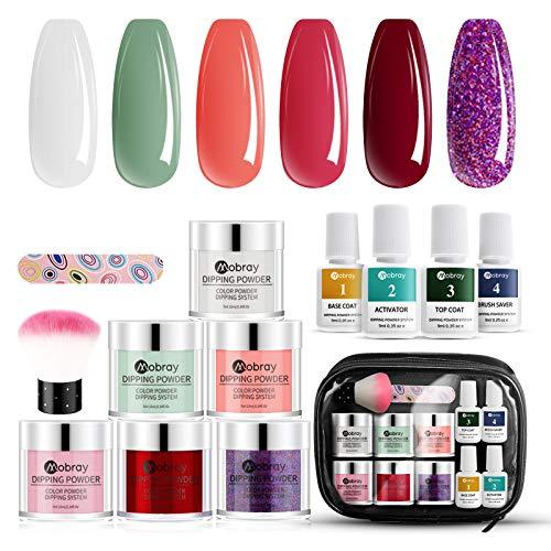 6 Farben Dip Pulver Nägel Starter Kit, DIY Dip Powders Nail Art Set, Mit Basislack & Decklack & Aktivator und Brush Saver, Geschenk für Frauen, Lila, Matcha-Grün